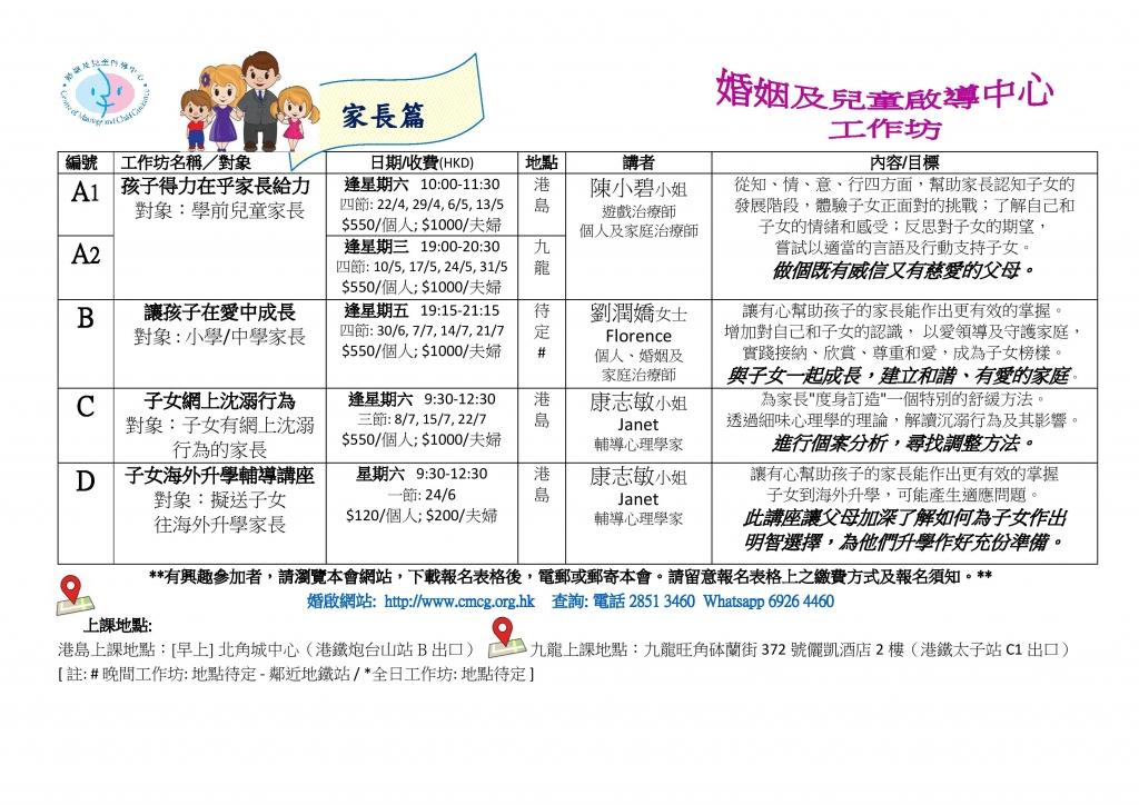 2017 04_07 Workshops List 1